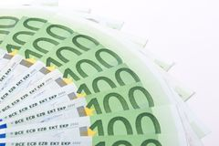 Macro hundred euro banknotes Royalty Free Stock Photo