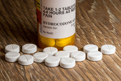 Macro of hydrocodone opioid tablets Stock Images