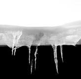 Macro of ice stalactites Royalty Free Stock Image