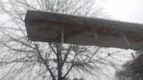 Macro icicle on 2x4 royalty free stock photo