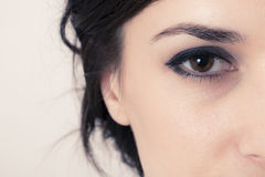 Macro image of a brown eye. beautiful lady Stock Images
