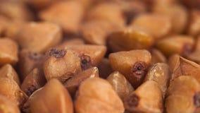 Macro image of buckwheat grain, food, background.  royalty free stock image