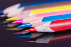 Macro image of colored wooden pencils Royalty Free Stock Photography