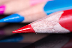 Macro image of colored wooden pencils Stock Image