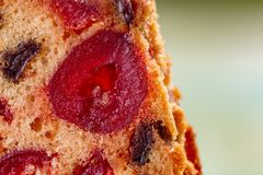 Macro image d'une tranche de g?teau avec des fruits o photographie stock libre de droits