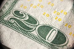 Macro image de billet de banque des 20 dollars Image stock