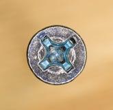 Macro image de tête d'étoile d'une vis de nickel Photos stock