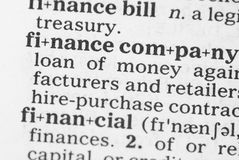 Macro image of dictionary definition of finance Stock Photos