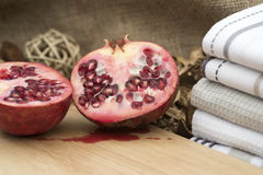 Macro image of fresh cut pomegranite Royalty Free Stock Photos