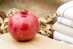 Macro image of fresh whole pomegranite Stock Images
