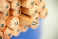 Macro image of graphite tip of a sharp ordinary wooden pencil as drawing and drafting tool, standing among other pencils Royalty Free Stock Photography