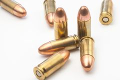 Group of 9mm bullets Royalty Free Stock Photography