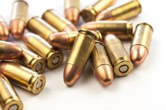 Group of 9mm bullets. Macro image of a group of 9mm bullets Royalty Free Stock Photos
