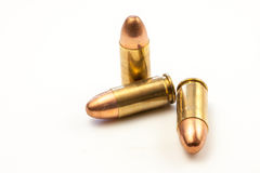 Three 9mm bullets Stock Photo