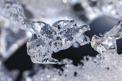Close up of ice formations. A macro image of ice formations in various shapes in winter Stock Image