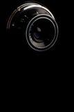 Macro image of lens on retro camera Stock Photo