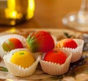 Macro image of marzipan fruit candies Stock Image