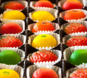 Macro image of marzipan fruit candies Royalty Free Stock Photography