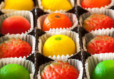 Macro image of marzipan fruit candies Stock Photos