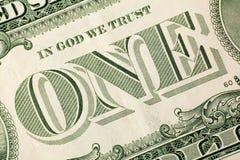 Macro image of one dollar bill Stock Photos