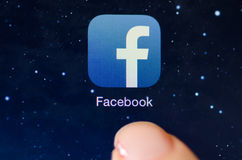 Macro image of running Facebook app on an iPad Royalty Free Stock Images