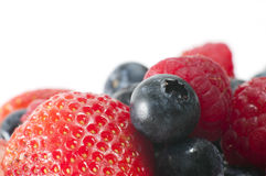 Macro Strawberry & Blueberry Stock Photography