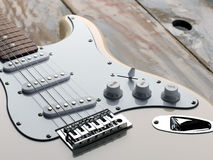The macro image of a white electric guitar Stock Photography