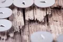 Macro immagine astratta dell'a pressione marcio del metallo e del bordo di legno Fotografie Stock Libere da Diritti