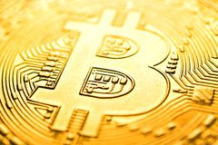 Macro immagine di Bitcoin per fondo, astratta immagine stock libera da diritti