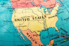 Macro immagine di una mappa dell'America Fotografie Stock