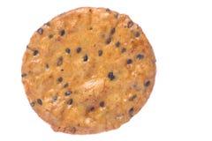 Macro japonês do biscoito do arroz do sésamo isolado Imagem de Stock Royalty Free