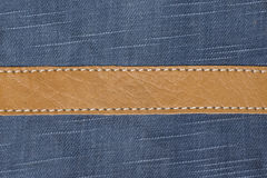 Macro of jeans and leather Royalty Free Stock Photo