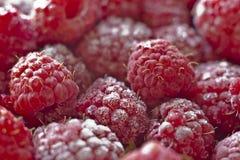 Macro juicy red raspberries. Under the ice Stock Photos