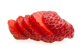 Macro of juicy sliced strawberry Royalty Free Stock Images