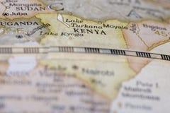 Macro of Kenya on globe. Narrow depth of field Royalty Free Stock Image