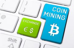Macro Of A Keyboard With Coin Mining And Exchange Buttons, Both With Icons Stock Image
