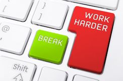 Macro Of A Keyboard With The Work Harder And Break Buttons Royalty Free Stock Image