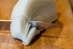 Macro of knife cutting through white onion layers Stock Images