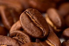 Macro koffiebonen Royalty-vrije Stock Foto