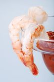 Macro Large Shrimp Cocktail With Sauce Royalty Free Stock Images