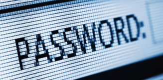 Macro of lcd. Monitor with the word PASSWORD Royalty Free Stock Photos