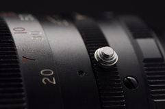 Macro lens. Macro focus ring button part of lens royalty free stock photo