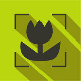 Macro lens mode icon, flat style. Macro lens mode icon in flat style on a green background Royalty Free Stock Images