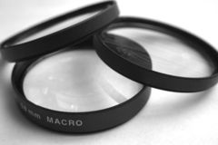 Macro Lenses. Macro filters for adding to a lens Stock Image