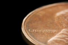 Macro of Liberty on a penny Stock Image