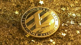 Macro Light Twinkles on Coin Made by Peer-to-peer Currency. Macro light twinkles on litecoin made by peer-to-peer internet currency which includes zero-cost stock footage