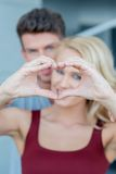 Macro Lovers Cute Hand Heart Sign Royalty Free Stock Photos