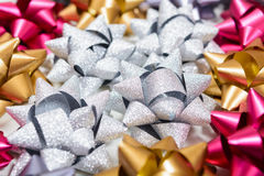 Macro of many holiday bows with macro Stock Images
