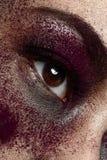 Macro maquillage pourpre Photo libre de droits