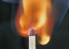 Macro of a match. The moment of ignition Stock Image